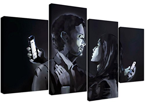 (Large Banksy Mobile Lovers Canvas Wall Art Pictures - Black and White - Set of 4 - Modern Graffiti Prints - Split Multi Panel Canvases - XL - 130cm )