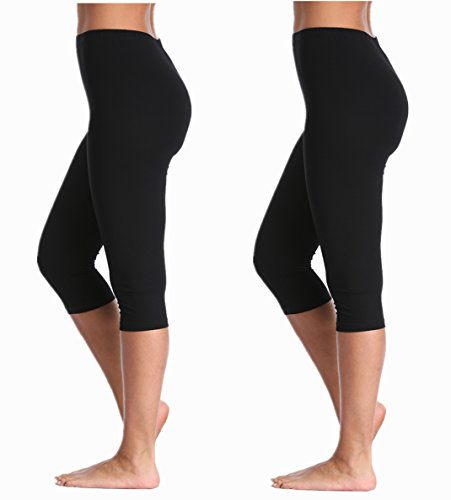 A-Wintage Women's Extra Soft Capri Leggings Modal 3/4 Length Pants with High Waist by A-Wintage
