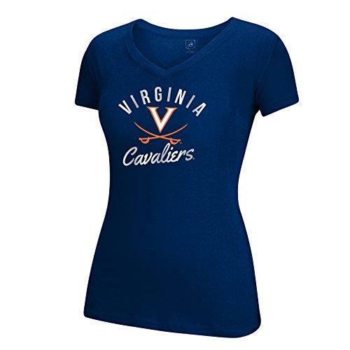 J America NCAA Virginia Cavaliers Women's School Spirit Stripe Essential Tee, Navy, - Virginia Stripes Ncaa Cavaliers