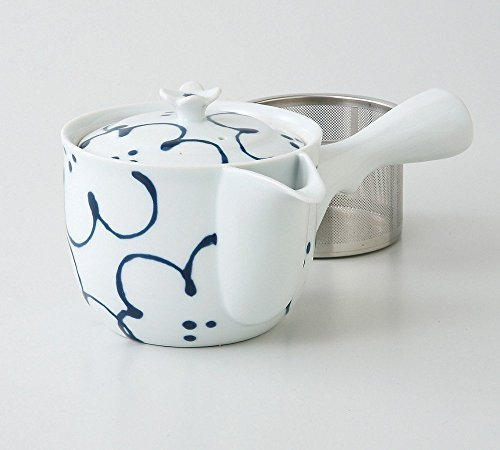 (Saikai Pottery Flower pattern Kyusu Japanese Teapot with super stainless strainer from Japan 73457)