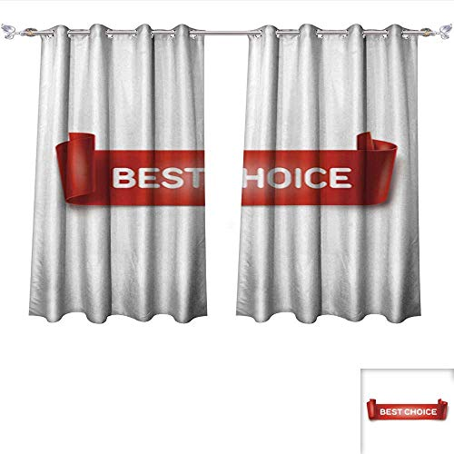 Thermal Insulating Blackout Curtain Best Choice Inscription on red Detailed Curved Ribbon on Background Pocket Insulated Tie Up Curtains W55 x L45/Pair (Tie Leigh Silk)