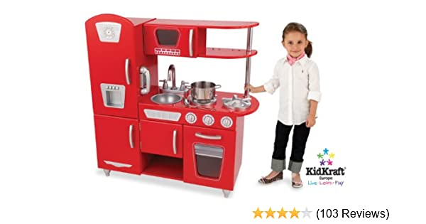 Amazon Com Kidkraft Red Vintage Kitchen Toys Games