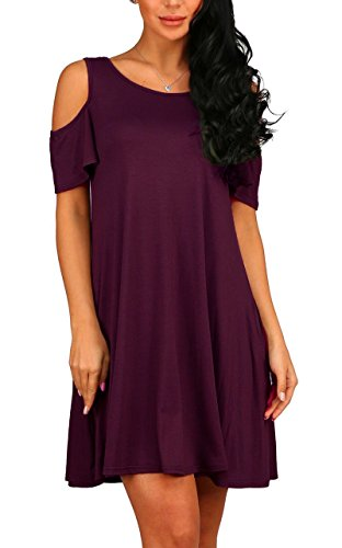 PCEAIIH Women's Summer Cold Shoulder Tunic Top Swing Dresses Loose T-Shirt Casual Dress with Pockets (Small, Wine Red)