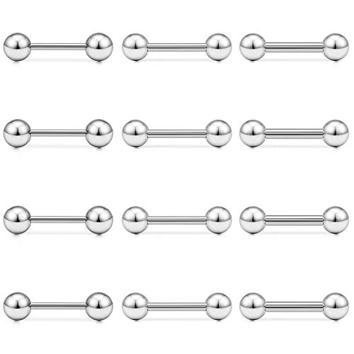 Ftovosyo 12pcs 16-12G Tongue Rings Nipple Shield Straight Barbells Surgical Steel Surgical Steel Cartilage Tragus Barbell Body Piercing Jewelry for Momen Men 12mm ()