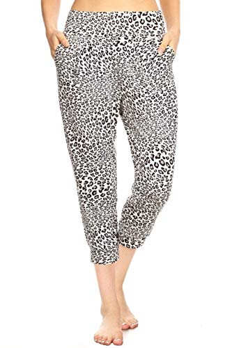 ShoSho Womens Solid Color Loose Fit Jogger Harem Pants Casual Bottoms Skinny Self Tie Cropped Black/White Leopard Print - White Leopard