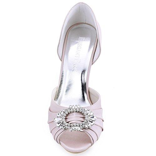 Sposa Spillo Tacco Elegantpark Scarpe Ballo Pieghe Donna Pompe Partito Satin Toe Rosa A2136 Da Fibbia Peep A wrr0qZOX
