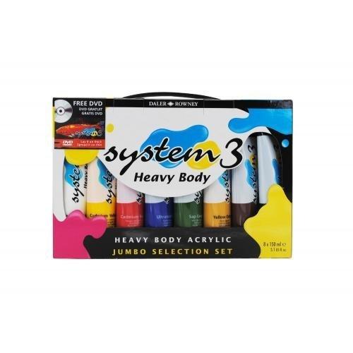 Daler Rowney System 3 Heavy Body Acrylic Jumbo Selection Set 8x150ml + FREE DVD by Daler-Rowney System 3 acrylics -