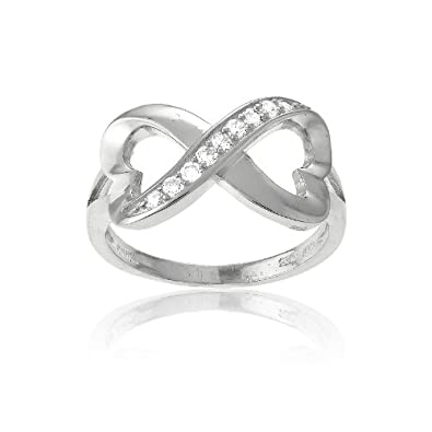 Sterling Silver Infinity Figure 8 Heart-Designed CZ Ring. Available in sizes 5 – 5.5 – 6 – 6.5 – 7 – 7.5 – 8 – 8.5 – 9 – 9.5 – 10