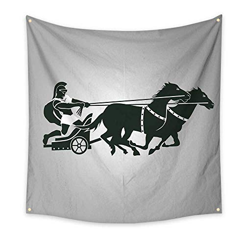 Toga Party Dorm Room Tapestry Mythological Chariot Gladiator with Horse Traditional Greek Culture Image Floral Wall Tapestry Dimgrey Black 70W x 70L -