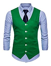 newrong Men's Button Down Business Suit Vest