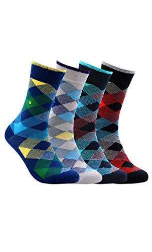 BUHA BAMBOO SOCKS - Mens Bamboo Series - Antibacterial, Scented, Seamless, and Soft Bamboo Socks for Men - MADE IN TURKEY (Small Argyle) (Mens Thermal Dress Socks)
