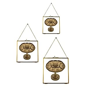 Urbanest Set of 3 Brixton Brass and Glass Hanging Picture Frames, Antique Brass