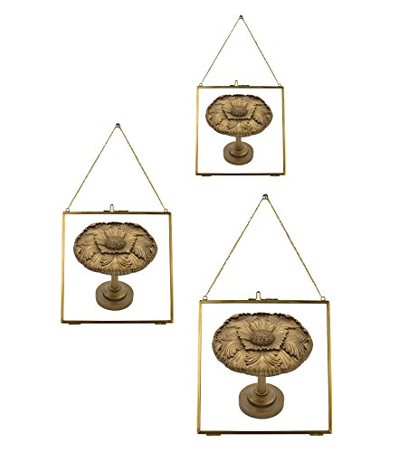 Urbanest Set of 3 Brixton Brass and Glass Hanging Picture Frames, Antique - Square Gold Frame