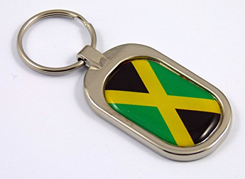 Key Chrome Keychain Metal Ring (Jamaica Flag Key Chain metal chrome plated keychain key fob keyfob Jamaican)