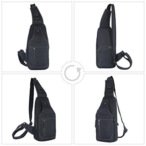 cab497f9287a Leathario Men's Leather Sling bag Chest bag One shoulder bag ...
