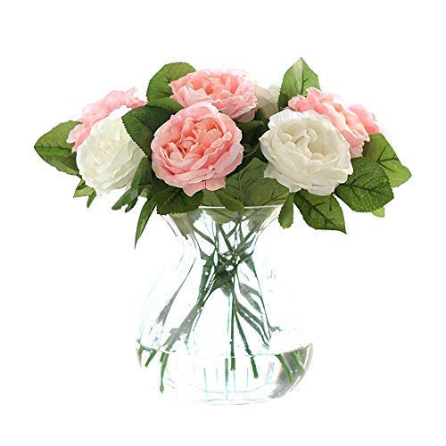 CQURE Artificial Flowers,Fake Flowers Silk 6 Heads Roses Wedding Bouquet Flower Arrangement for Home Decor Party Centerpieces Decoration (Pink White)