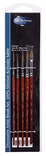 Jack Richeson 22201 Siberian Kolinsky Sable Brush (Set of 5)