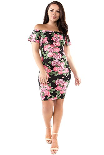 Maxifaldas Women's Off Shoulder Ruffle Bodycon Fitted Floral Dress (Small, D1 Blk/Green) Blk Green