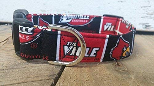University of Louisville Cardinals dog collar buckle or martingale with leash set option