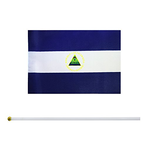 Kind Girl Hand Held Nicaragua Flag Nicaraguan Flag Stick Flag Small Mini Flag 50 Pack Round Top National Country Flags,Party Decorations Supplies For Parades,World Cup,Sports Events,Celebration
