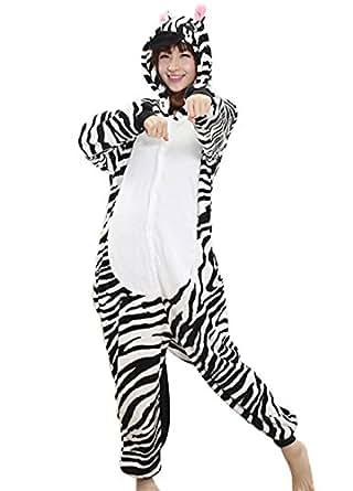 Happy Cherry - Traje de Disfraz Cosplay Halloween de Animal Pijama Entero para Hombre y Mujer con Capucha - Cebra - Talla L