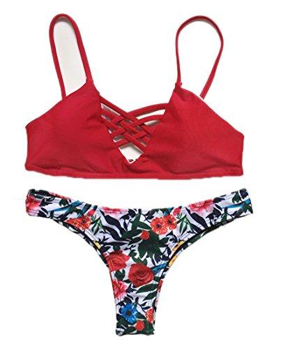 JIANLANPTT Spaghetti Strap Floral Print Criss-Cross Women's Bikini Set (US(4-6)=Asian L, Red)