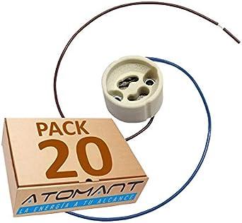 Pack 20x Portalamparas para Gu10 con Cable Extralargo 20 Centimetros. color blanco, Standard.: Amazon.es: Iluminación