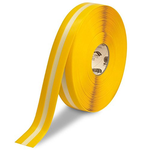 2'' Yellow MightyGlow with Luminescent Center Line - 100' Roll