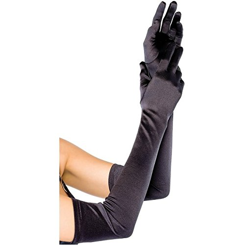 BeOne Evening Wedding Party Prom Bridal Gloves Bridal Gloves Satin Long Finger Gloves Black 22 Inches