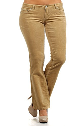 Bootcut Stretch Belt (Plus Size Juniors Teens Corduroy Pants Low Rise Boot Cut School Work Khaki Size 2X)