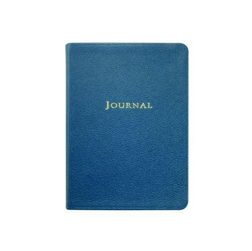 Medium Travel Journal, Genuine Goatskin Leather, Lined Pages, 5-3/8'' x 7-3/8'', Blue by Graphic Image