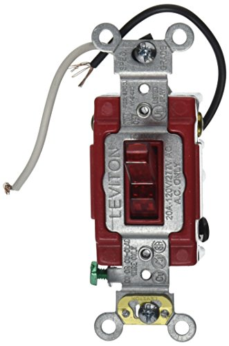 Leviton 1223-PLR 20-Amp, 120 Volt, Toggle Pilot Light, Illuminated On, Req, Neutral 3-Way AC Quiet Switch, Extra Heavy Duty Grade, Self Grounding, Back and Side Wired, Red ()