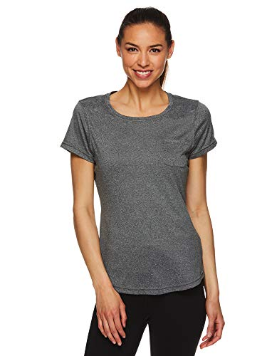HEAD Women's Short Sleeve Workout Scoop Neck T-Shirt - Performance Tennis Crew Neck Activewear Top - Lead SS Black, Large