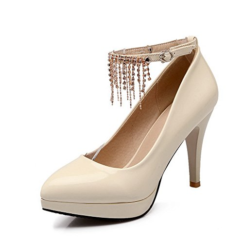Shoes Solid High Pointed Heels Women's PU Buckle VogueZone009 Closed Pumps Toe Beige vq1CwR8X