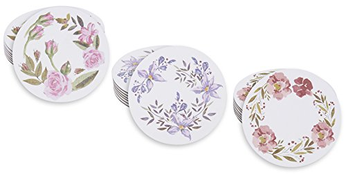 Drinks Coasters Set – 24 Pack Round Drink Absorbent Table Coasters with Floral Print, Heavyweight Paper Flower Coasters in 3 Watercolor Designs, 4 Inches in Diameter by Blue Panda