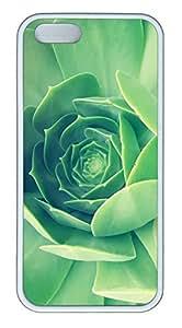 taoyix diy iPhone 5 5S Case Green Plant Close Up TPU Custom iPhone 5 5S Case Cover White