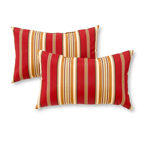 Greendale Home Fashions Rectangle Outdoor Accent Pillow (set of 2), Roma Stripe (And Accent Red Gold Pillows)