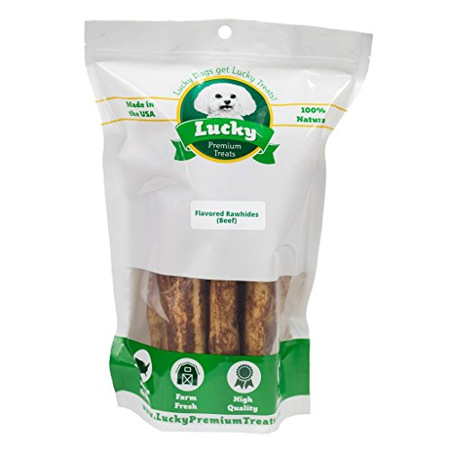 Lucky Premium Treats USA Made Beef Basted Rawhide Dog Treats - Retrievers for Large Dogs - 15 Chews