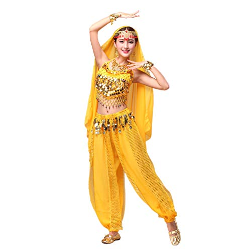 Maylong Womens Harem Pants Indian Dance Belly Outfit Halloween Costume DW30 (Yellow) -