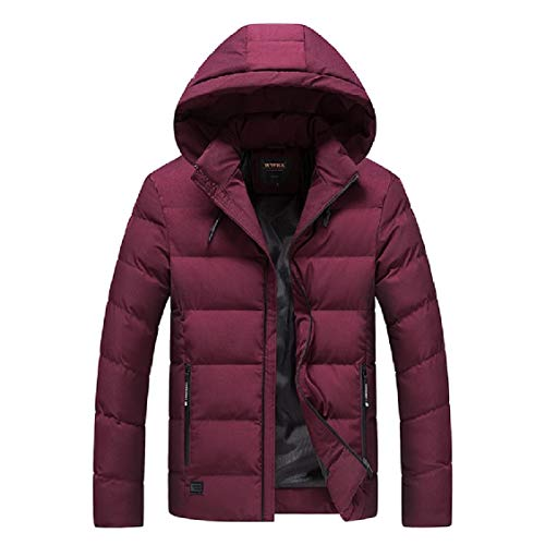 Duffle Hooded Red Simple Zip Energy Coat Fit Relaxed with Men's Solid Wine qxvt8Xw
