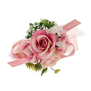 Prettyia Artificial Bride Bridesmaid Silk Wrist Corsage Wristband Wedding Hand Flowers 29
