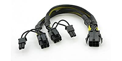 """AYA 8"""" (8 Inch) PCIE 6-Pin Y Splitter to Dual PCI-E 8-Pin (6+2) Converter Adapter with Black Sleeves"""