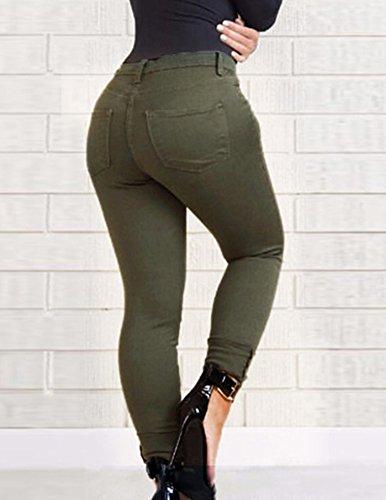 Sottile Taglia Pantaloni Strappato Verde Elastico Donna Alta Jeans Buco Larga Misura Esercito Vita Uznqxwda