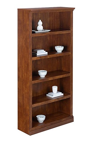 Realspace Premium Wide Bookcase, 5-Shelf, Brushed Maple - Mdf Maple Bookcase