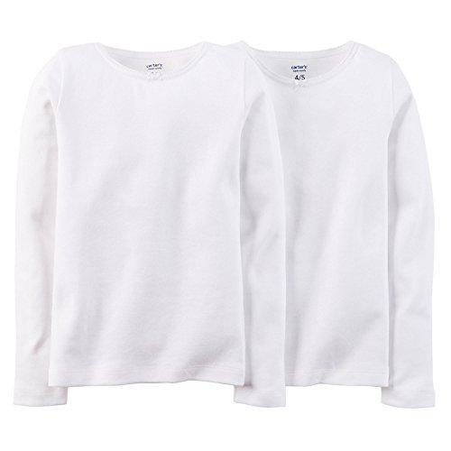 Long Cotton Sleeve Set Underwear (Carter's Little Girls' 2-pack White Cotton Tee Set (2-3T, Long Sleeve))