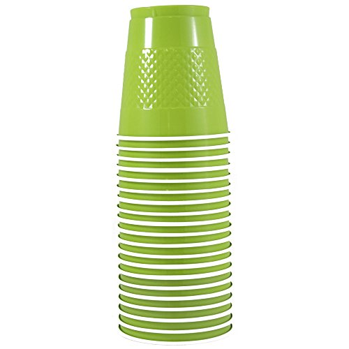 JAM Paper Plastic Party Cups - 12 oz - Lime Green - 20 Glasses/Pack