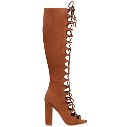 ENMAYER Heels Braun Toe Gladiator High Peep Block Wildleder Schuhe Stiefel Party Kleid Frauen pnrwOqTxp