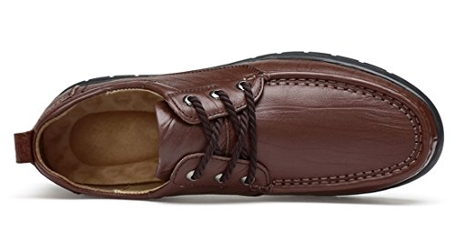 TDA Men's Rubber Sole Dark Brown Leather Fashion Breathable Loafers Driving Lace-up Casual Business Shoes 7 M US by TDA (Image #3)'