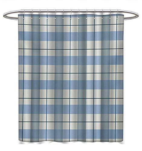 Anhuthree Checkered Shower Curtains Fabric Traditional Scottish Tartan Plaid Texture Image Rural Style Bathroom Decor Sets with Hooks W72 x L72 Slate Blue Pale Blue White