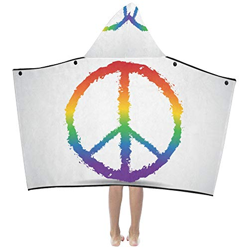 - Gednix Small Kids Blanket Colorful Peace Sign Kids Hooded Blanket Bath Towels Throw Wrap for Toddler Child Girl Boy Home Travel Sleep Blanket Hoodie Kids